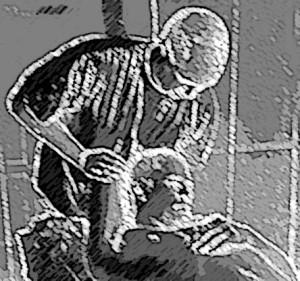 muskelstretching även kallat terapeutisk töjning av levator scapulae