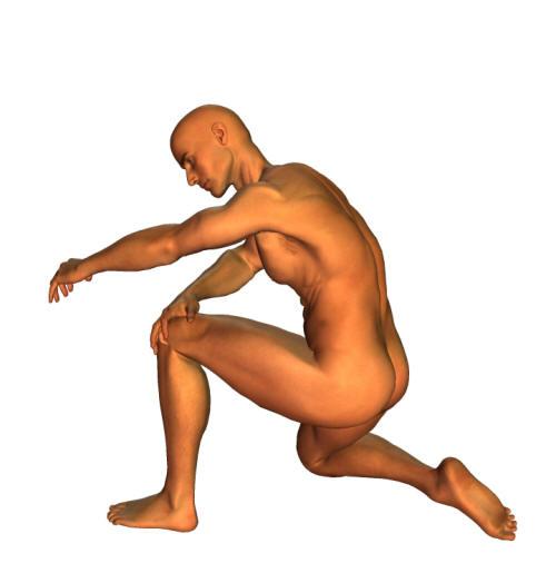 människomodell med symtom på smärtor