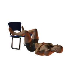 ryggliggande med böjd höft och knä.