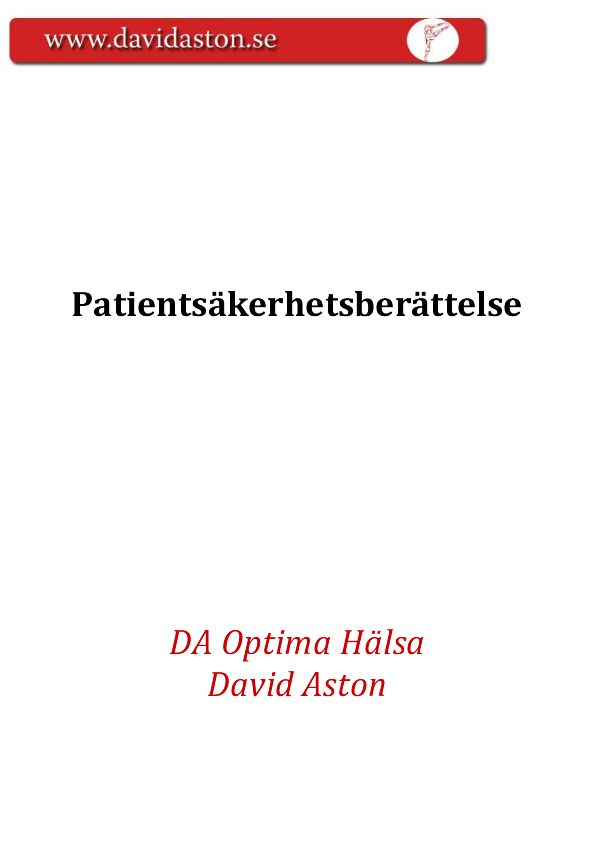 kvalitetssäkring med patientsäkerhetsberättelse