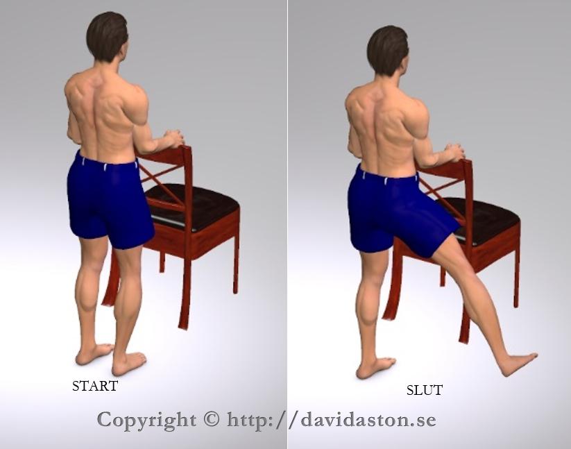 Kan göras med handstöd som bilden visar men även utan vilket blir mer balansträning. Muskler som tränas är höft- och sätesmusklerna.
