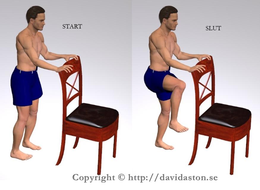 Knäuppdrag kan göras med handstöd som bilden visar men även utan vilket blir mer balansträning. Muskler som tränas är främre höftmusklerna.