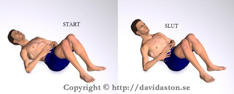 Lyft upp bröstryggen och skuldrorna från marken så att du känner en anspänning i bukmusklerna.
