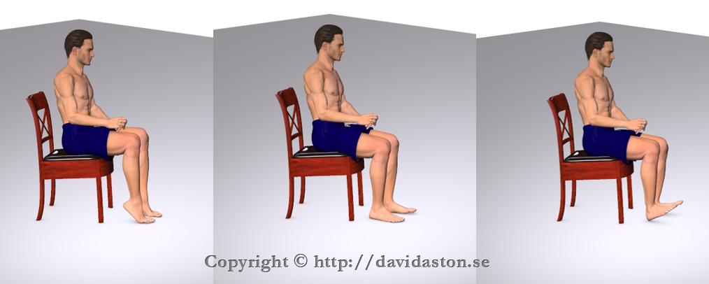 I sittande växlar du mellan tåhävning och hävning i likhet med att trampa symaskin.