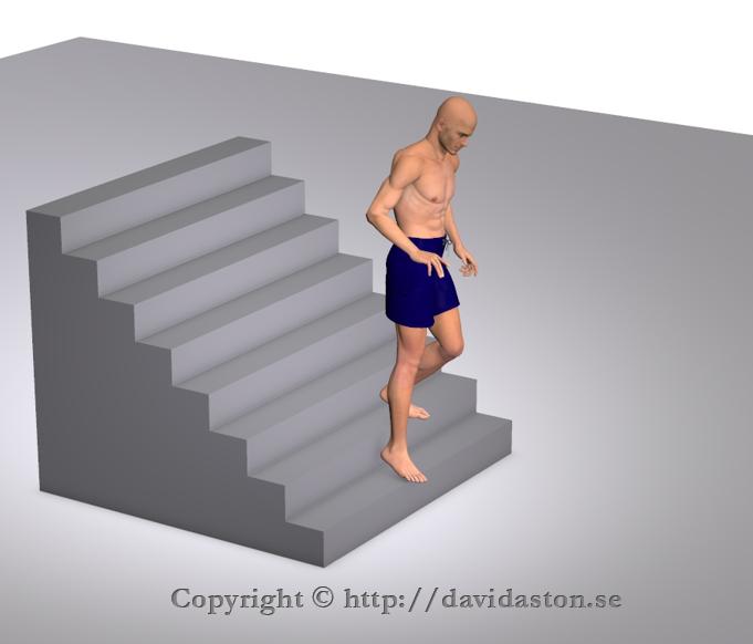 Gå i trappor nedför med eller utan stöd av handräcke. Ska alltid ske på ett säkert sätt.