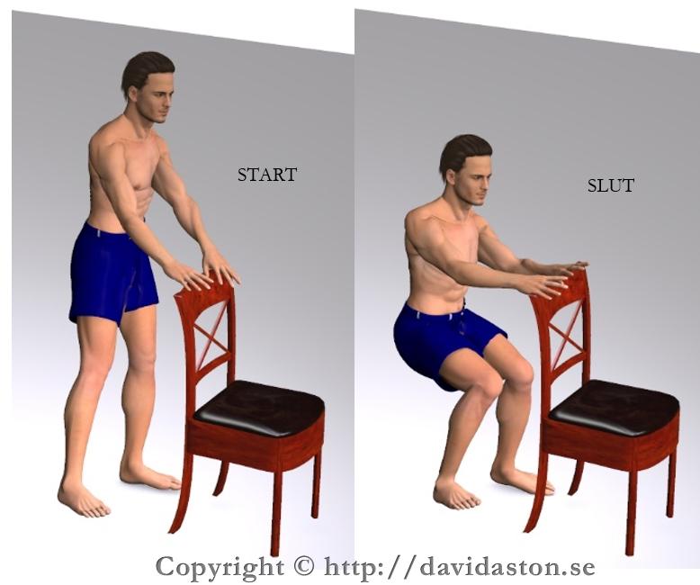 Kan göras med handstöd som bilden visar men även utan vilket blir mer balansträning. Muskler som tränas är lår- och sätesmusklerna.