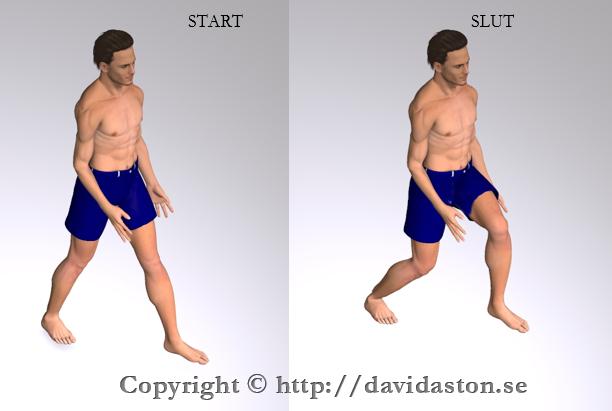 Stå i gångstående som första bilden visar. Med eller utan handstöd för över tyngden i framåt på det andra benet. Gå sedan tillbaka till start. Uppreda därefter övningen på samma ben eller gör övningen växelvis och utför övningen med det andra benet.