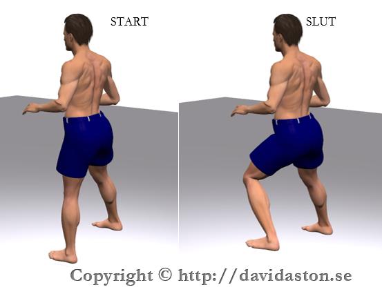 Med eller utan handstöd för över tyngden i sidled på det andra benet. Gå sedan tillbaka till start. Uppreda därefter övningen på samma ben eller gör övningen växelvis och utför övningen med det andra benet.