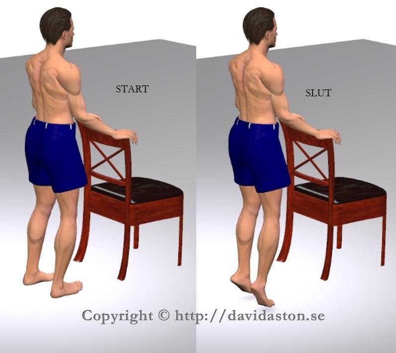 Kan göras med handstöd som bilden visar men även utan vilket blir mer balansträning. Muskler som tränas är vaderna.