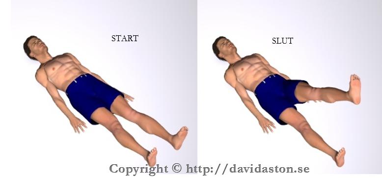 För upp benet med med knäet utsträckt/rakt. Rörelsen behöver inte vara så stor.